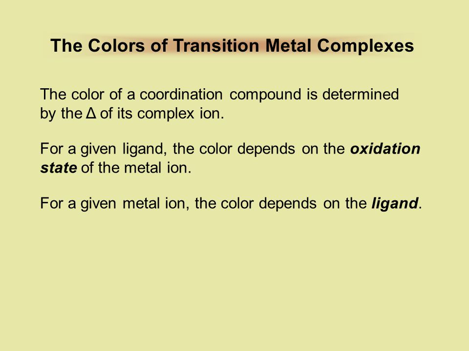 The Colors of Transition Metal Complexes