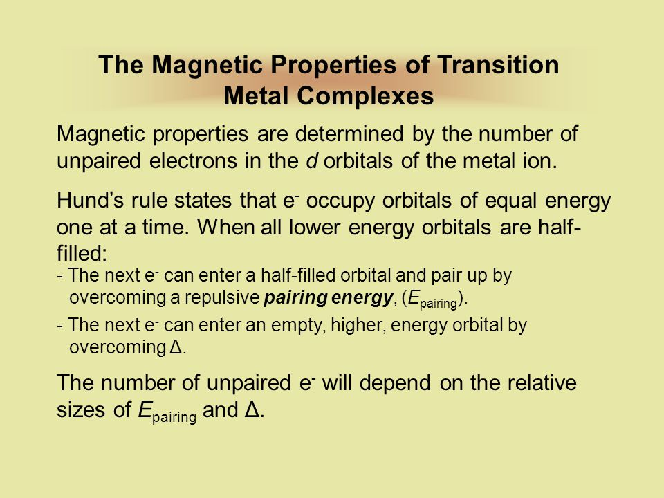 The Magnetic Properties of Transition Metal Complexes