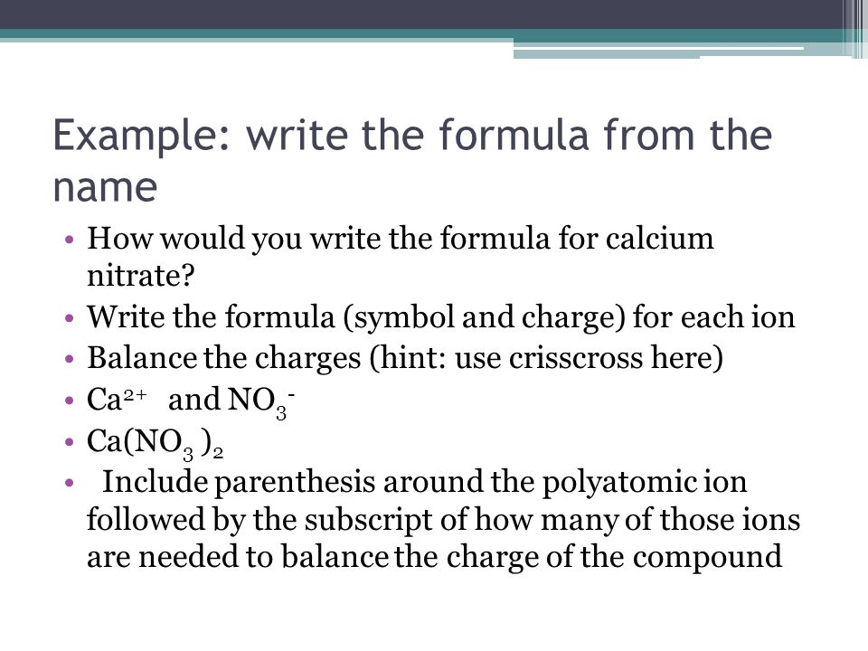 Example: write the formula from the name
