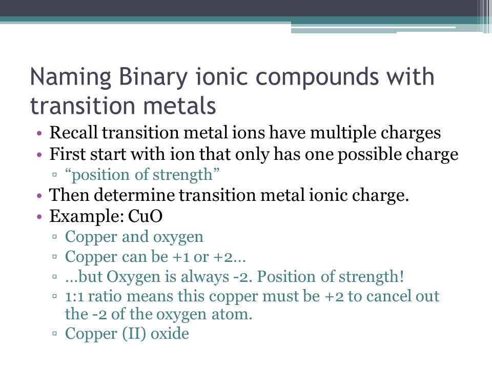 Naming Binary ionic compounds with transition metals