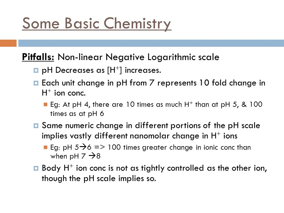 Some Basic Chemistry Pitfalls: Non-linear Negative Logarithmic scale