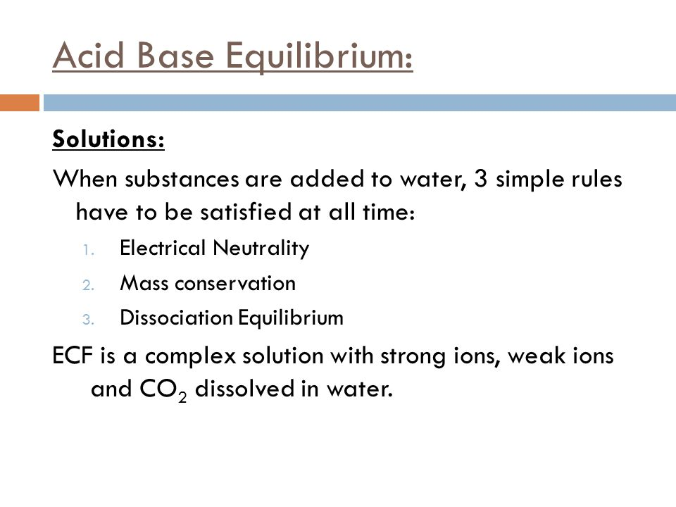 Acid Base Equilibrium: