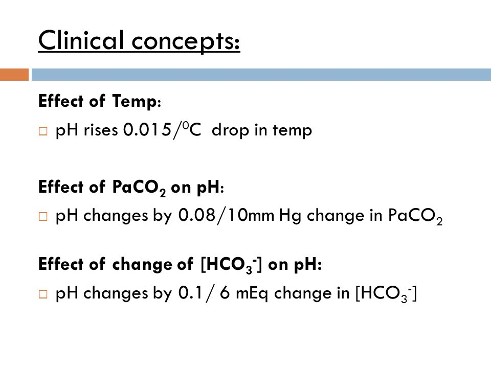 Clinical concepts: Effect of Temp: pH rises 0.015/0C drop in temp