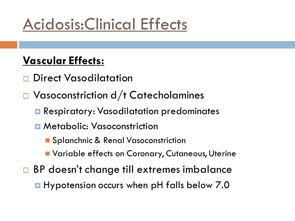 Acidosis:Clinical Effects
