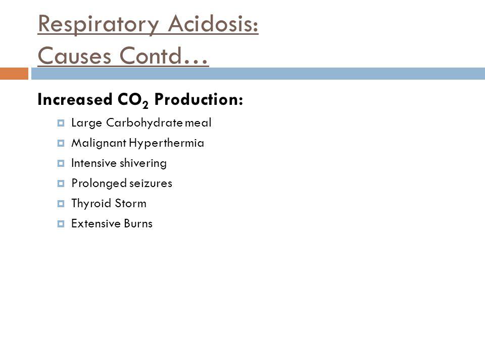 Respiratory Acidosis: Causes Contd…