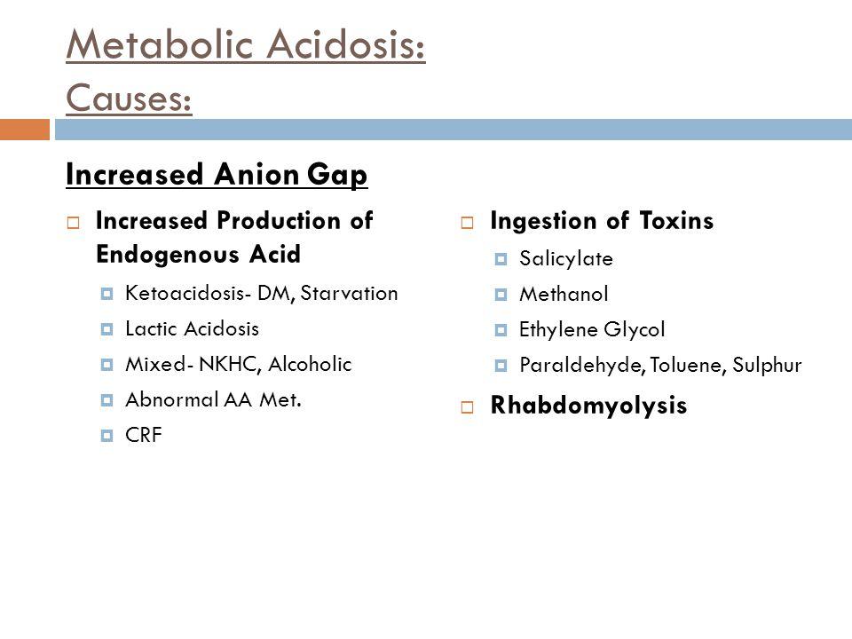 Metabolic Acidosis: Causes: