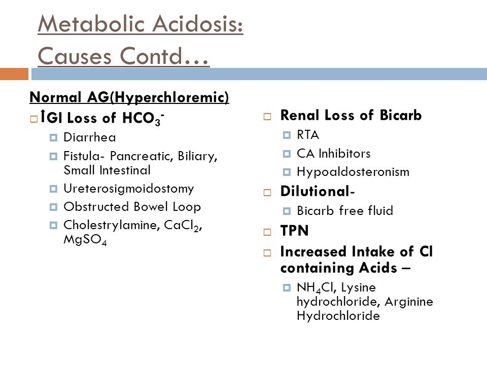 Metabolic Acidosis: Causes Contd…