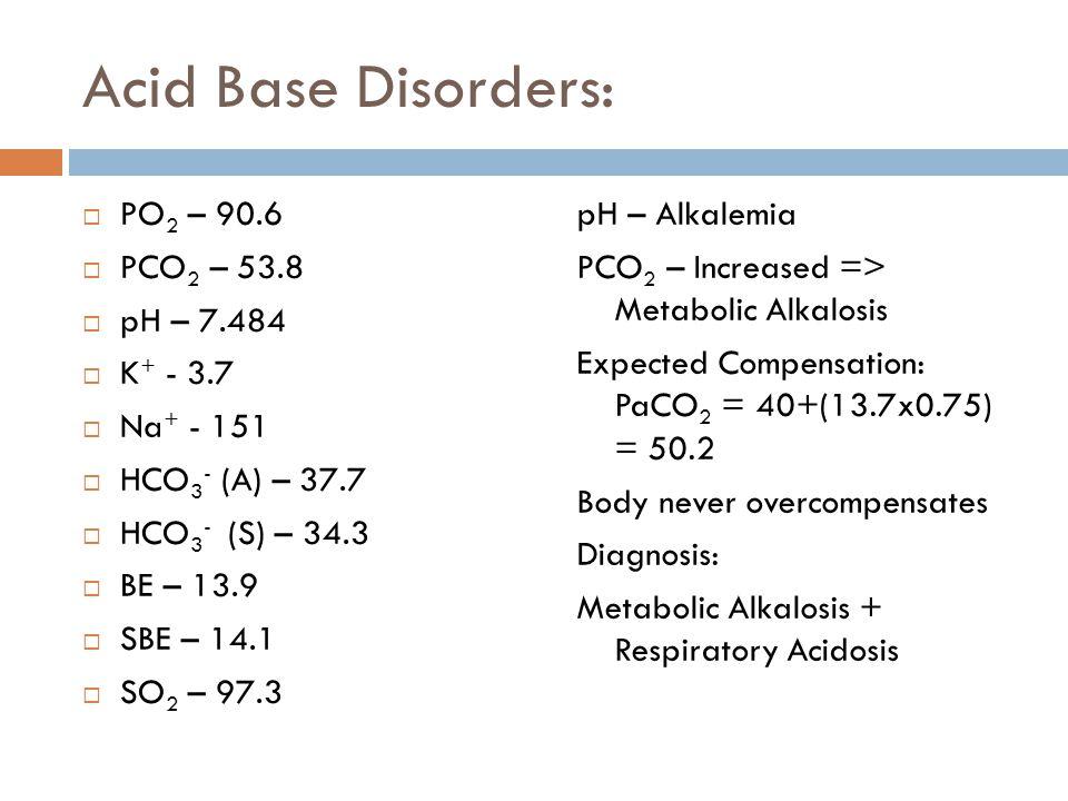 Acid Base Disorders: PO2 – 90.6 PCO2 – 53.8 pH – 7.484 K+ - 3.7