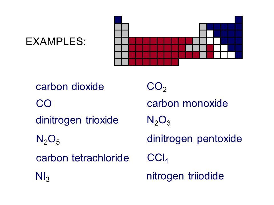 EXAMPLES: carbon dioxide. CO2. CO. carbon monoxide. dinitrogen trioxide. N2O3. N2O5. dinitrogen pentoxide.