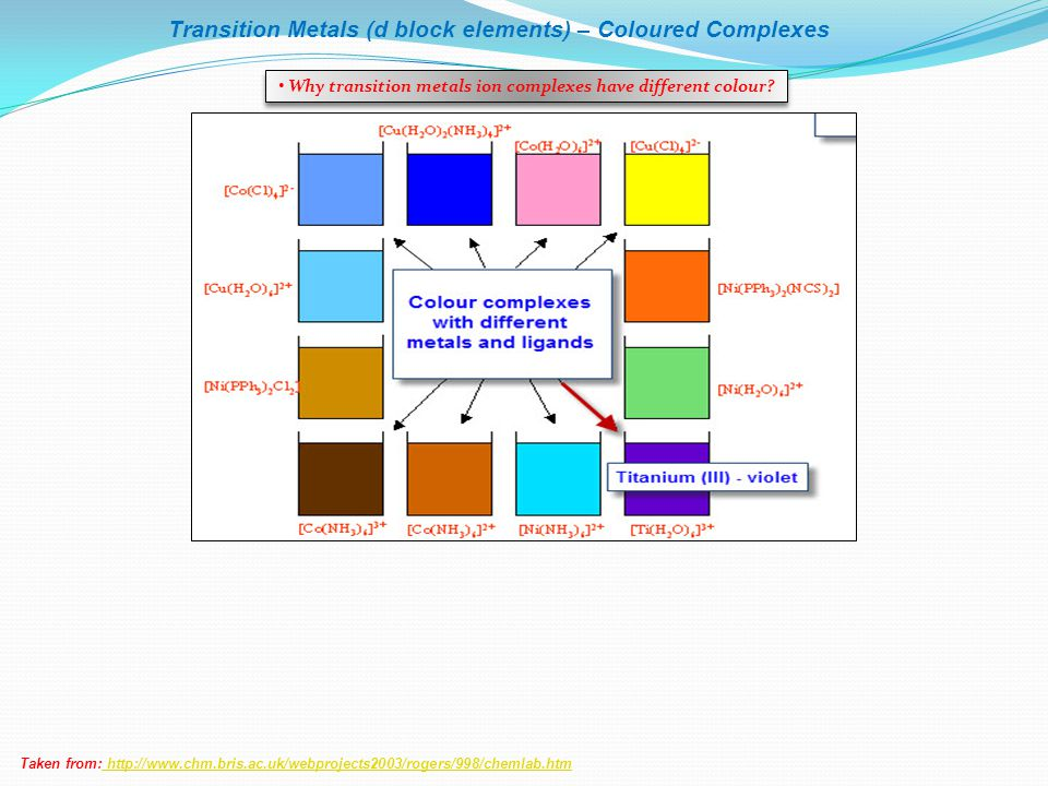 Why transition metals ion complexes have different colour
