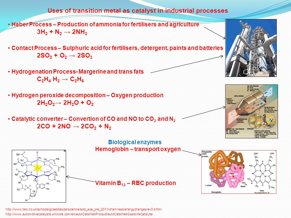Uses of transition metal as catalyst in industrial processes