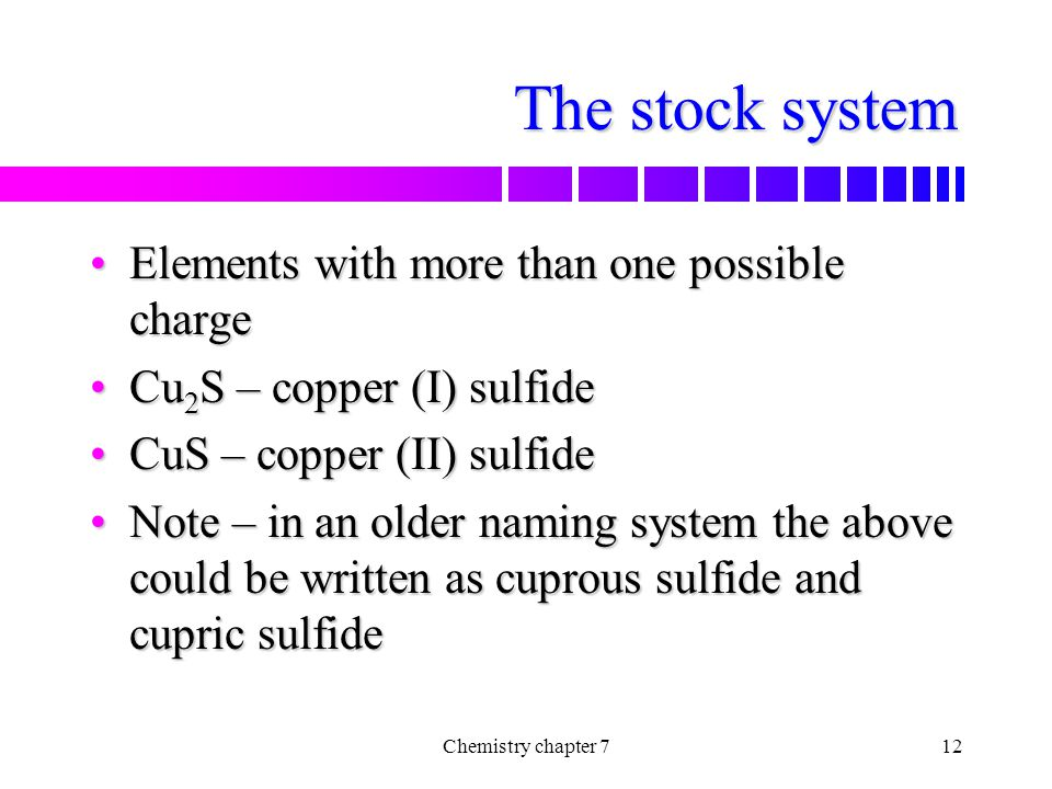 The stock system Elements with more than one possible charge