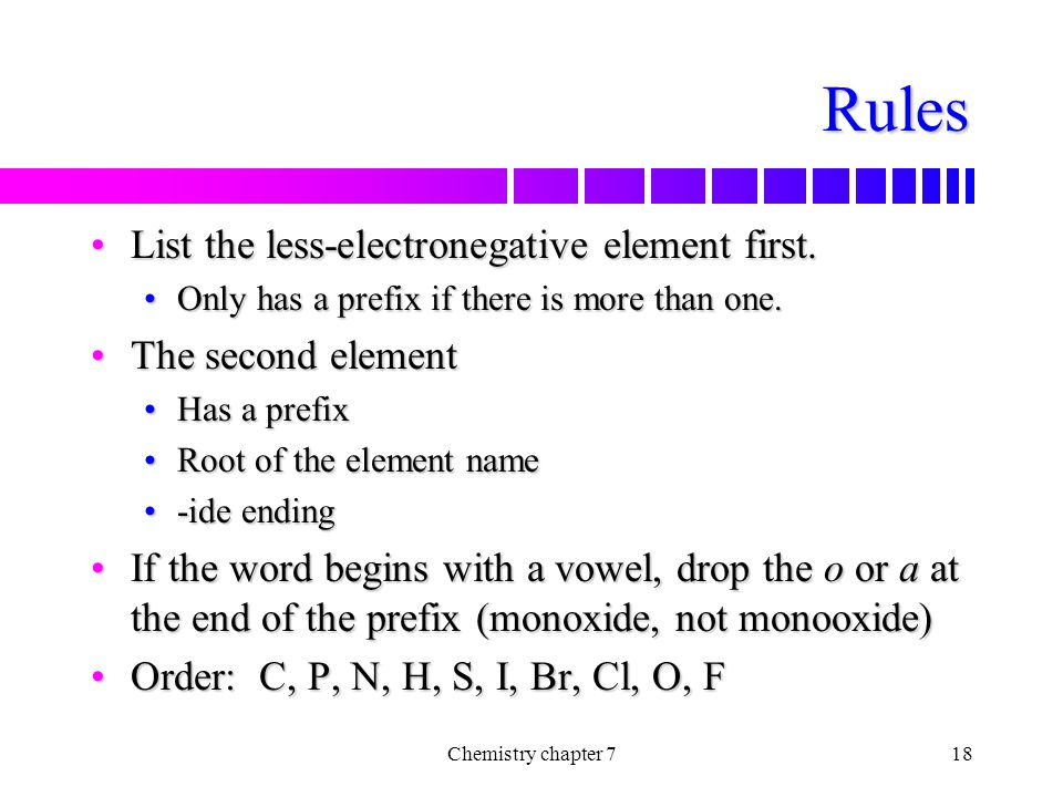 Rules List the less-electronegative element first. The second element