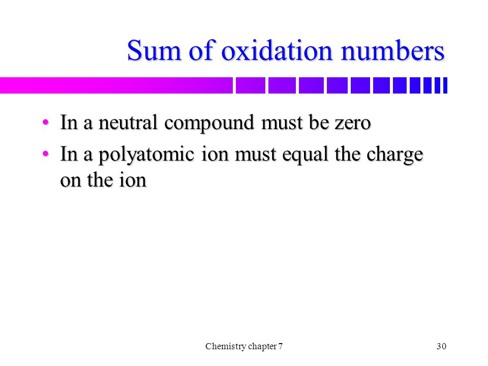 Sum of oxidation numbers
