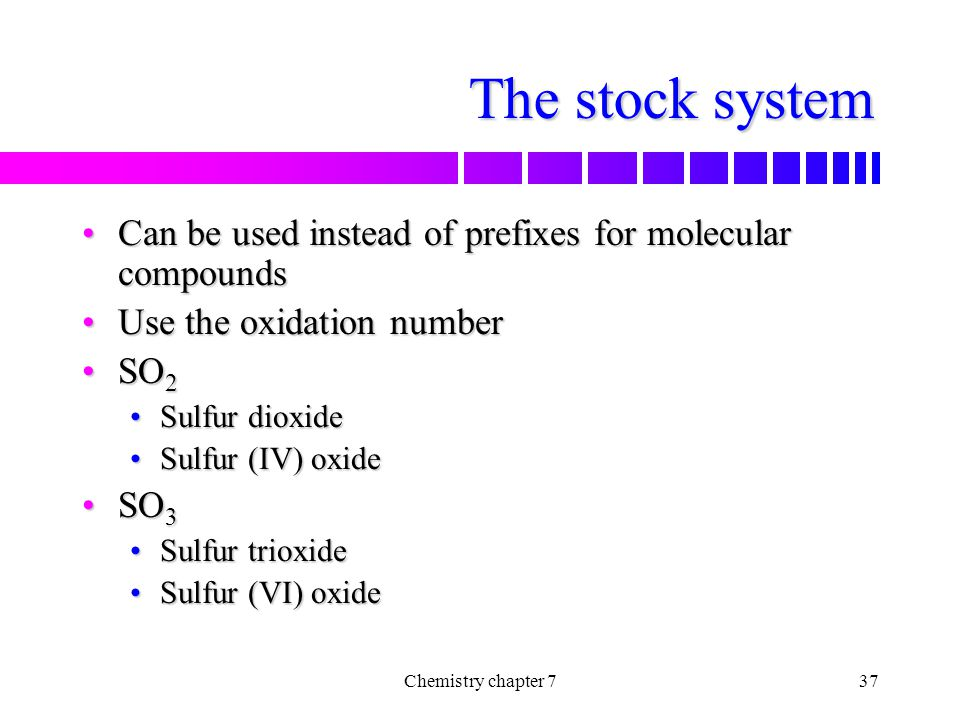 The stock system Can be used instead of prefixes for molecular compounds. Use the oxidation number.