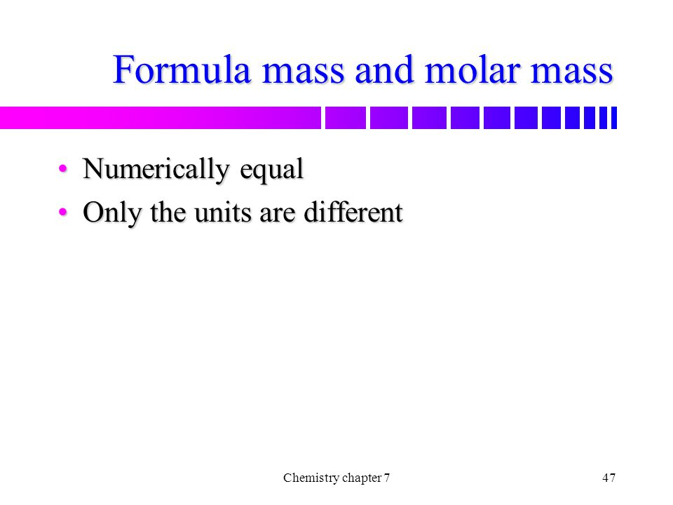 Formula mass and molar mass