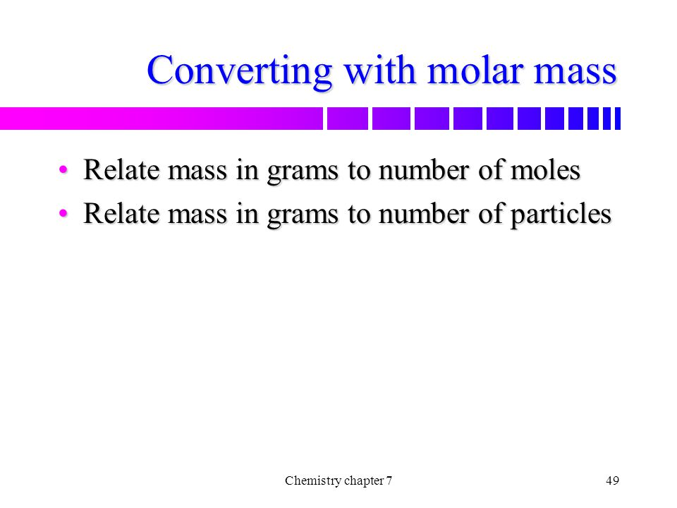 Converting with molar mass