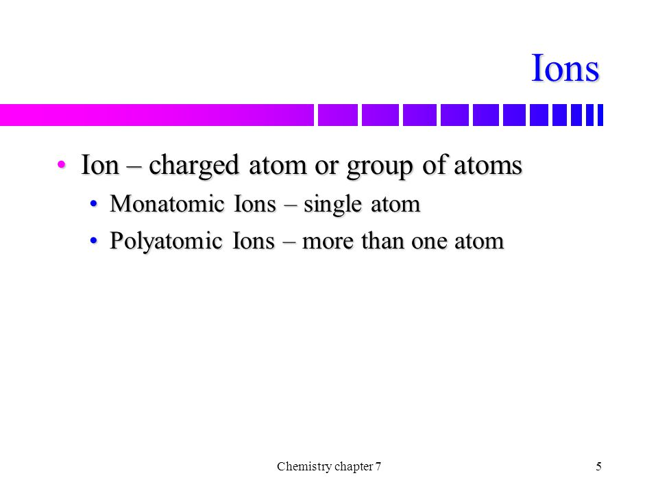Ions Ion – charged atom or group of atoms Monatomic Ions – single atom