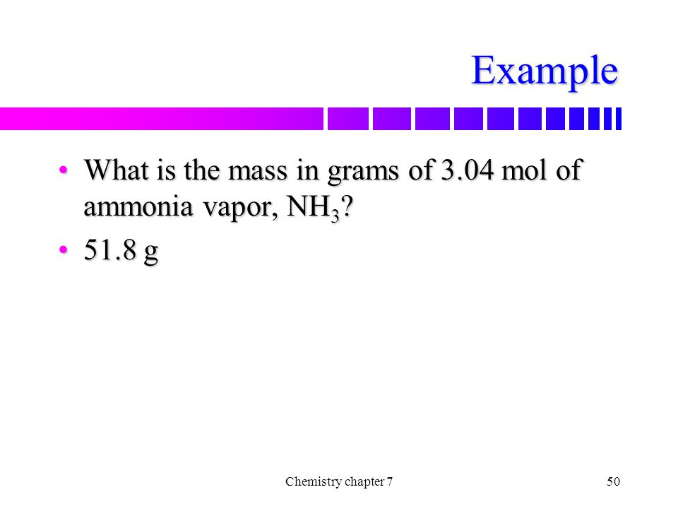 Example What is the mass in grams of 3.04 mol of ammonia vapor, NH3
