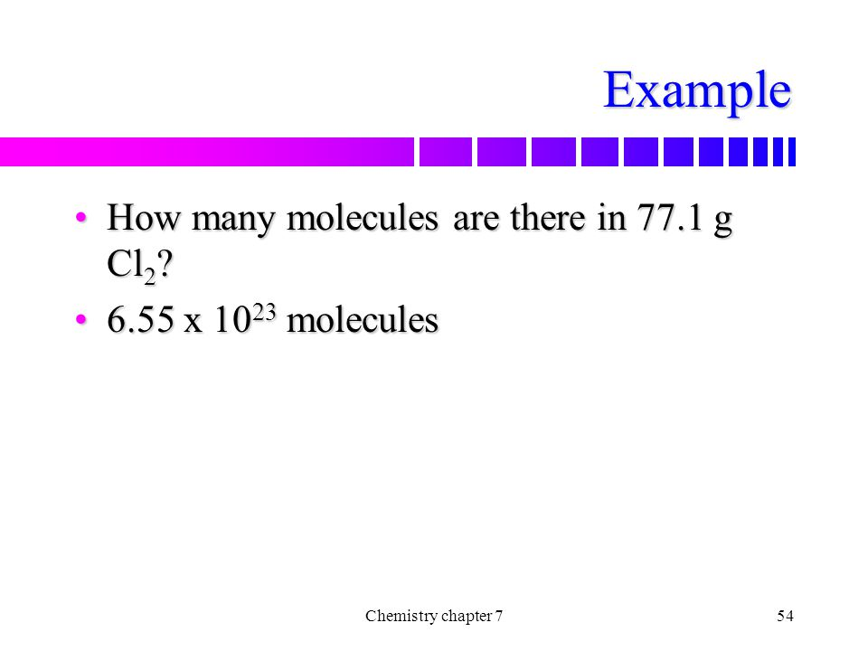 Example How many molecules are there in 77.1 g Cl2