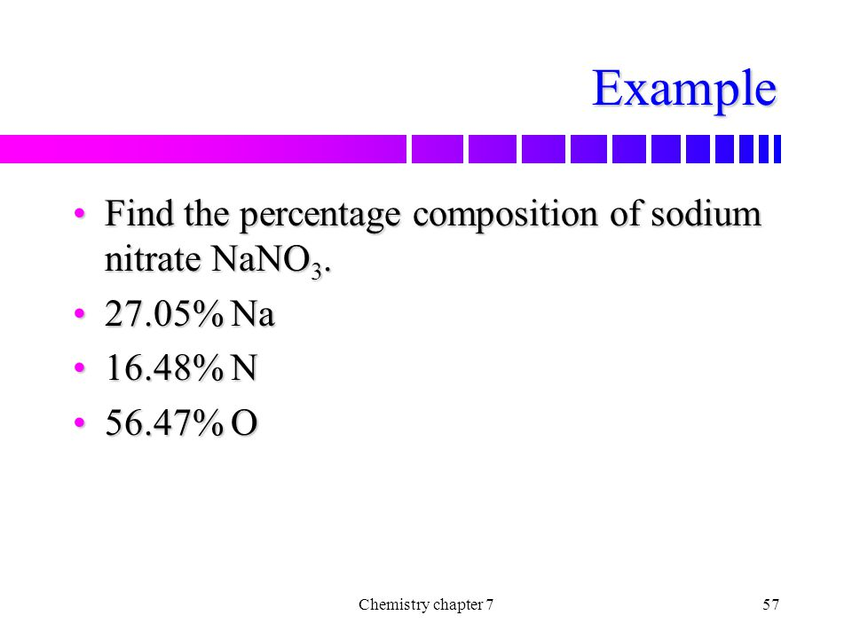 Example Find the percentage composition of sodium nitrate NaNO3.