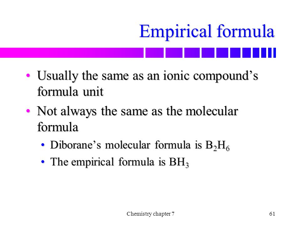 Empirical formula Usually the same as an ionic compound's formula unit