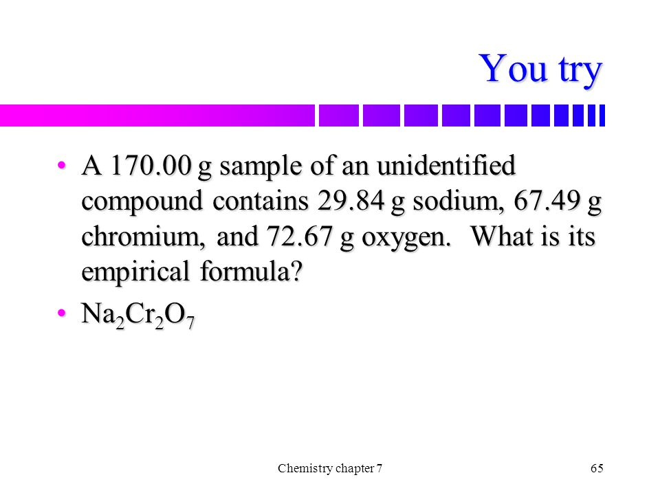 You try A 170.00 g sample of an unidentified compound contains 29.84 g sodium, 67.49 g chromium, and 72.67 g oxygen. What is its empirical formula