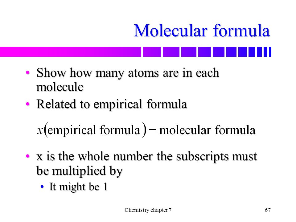 Molecular formula Show how many atoms are in each molecule