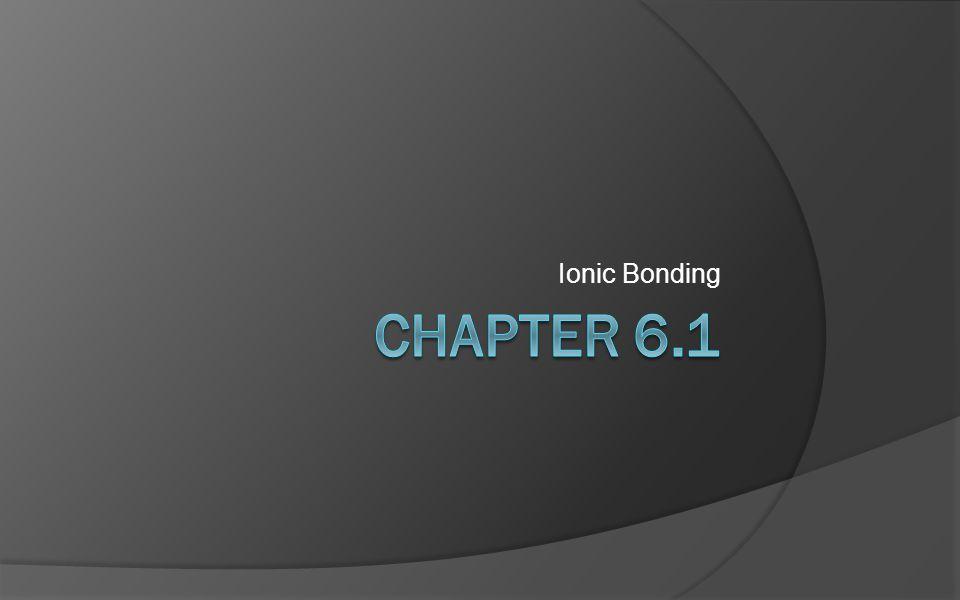 Ionic Bonding Chapter 6.1