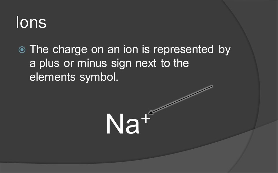 Ions The charge on an ion is represented by a plus or minus sign next to the elements symbol. Na+