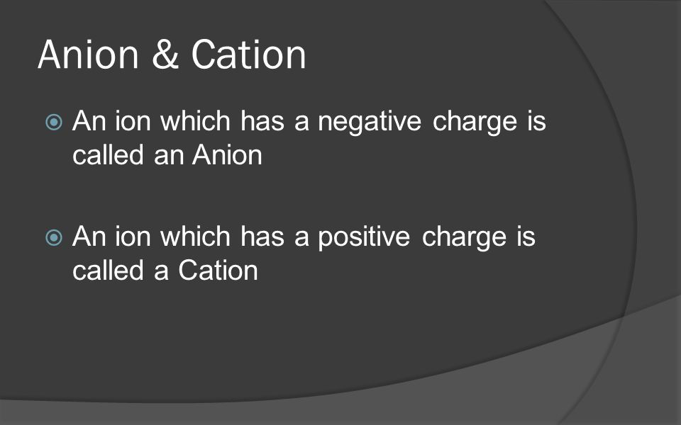 Anion & Cation An ion which has a negative charge is called an Anion