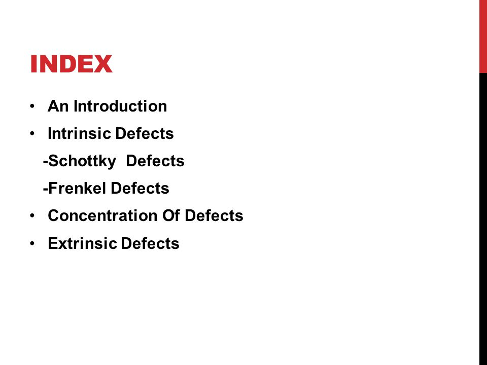 index An Introduction Intrinsic Defects -Schottky Defects