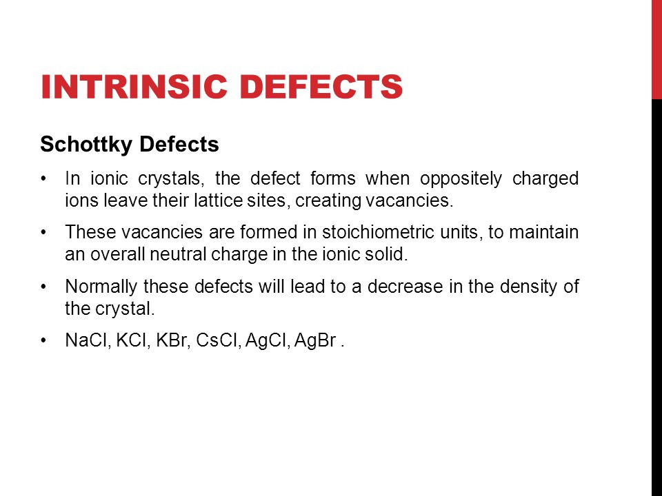 Intrinsic Defects Schottky Defects