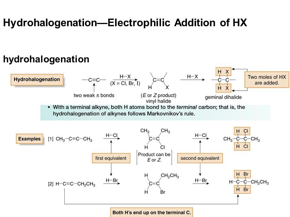 Hydrohalogenation—Electrophilic Addition of HX