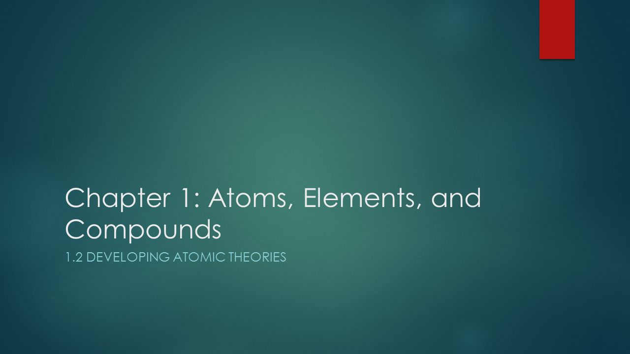 Chapter 1: Atoms, Elements, and Compounds