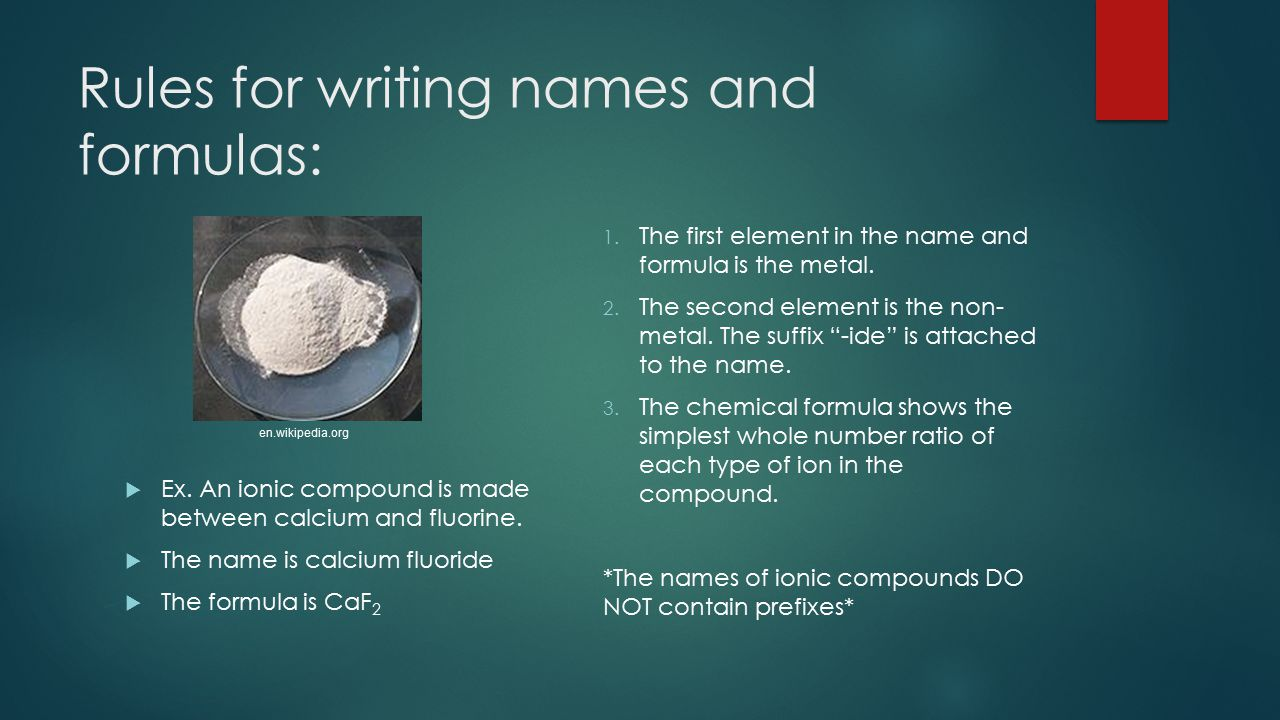 Rules for writing names and formulas: