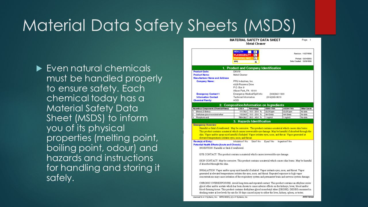 Material Data Safety Sheets (MSDS)