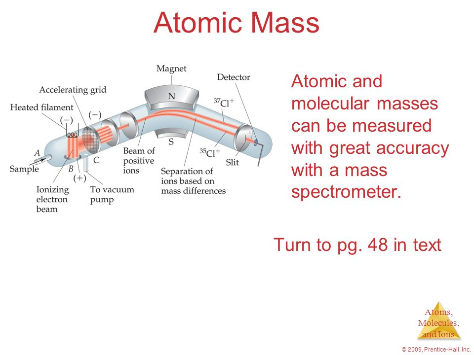 Atomic Mass Atomic and molecular masses can be measured with great accuracy with a mass spectrometer.