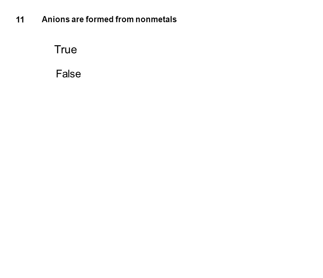 11 Anions are formed from nonmetals True False