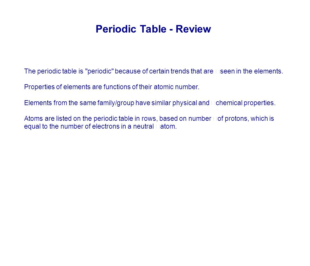 Periodic Table - Review