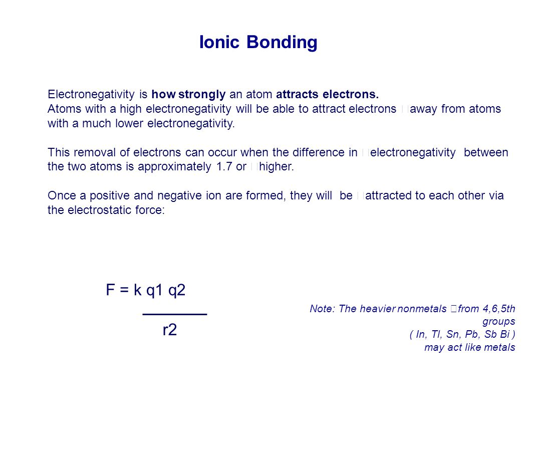 Ionic Bonding Electronegativity is how strongly an atom attracts electrons.