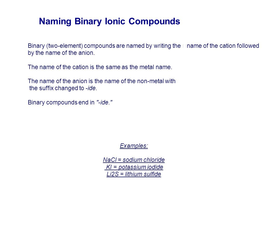 Naming Compounds Prefixes – Naming Binary Ionic Compounds Worksheet Answers