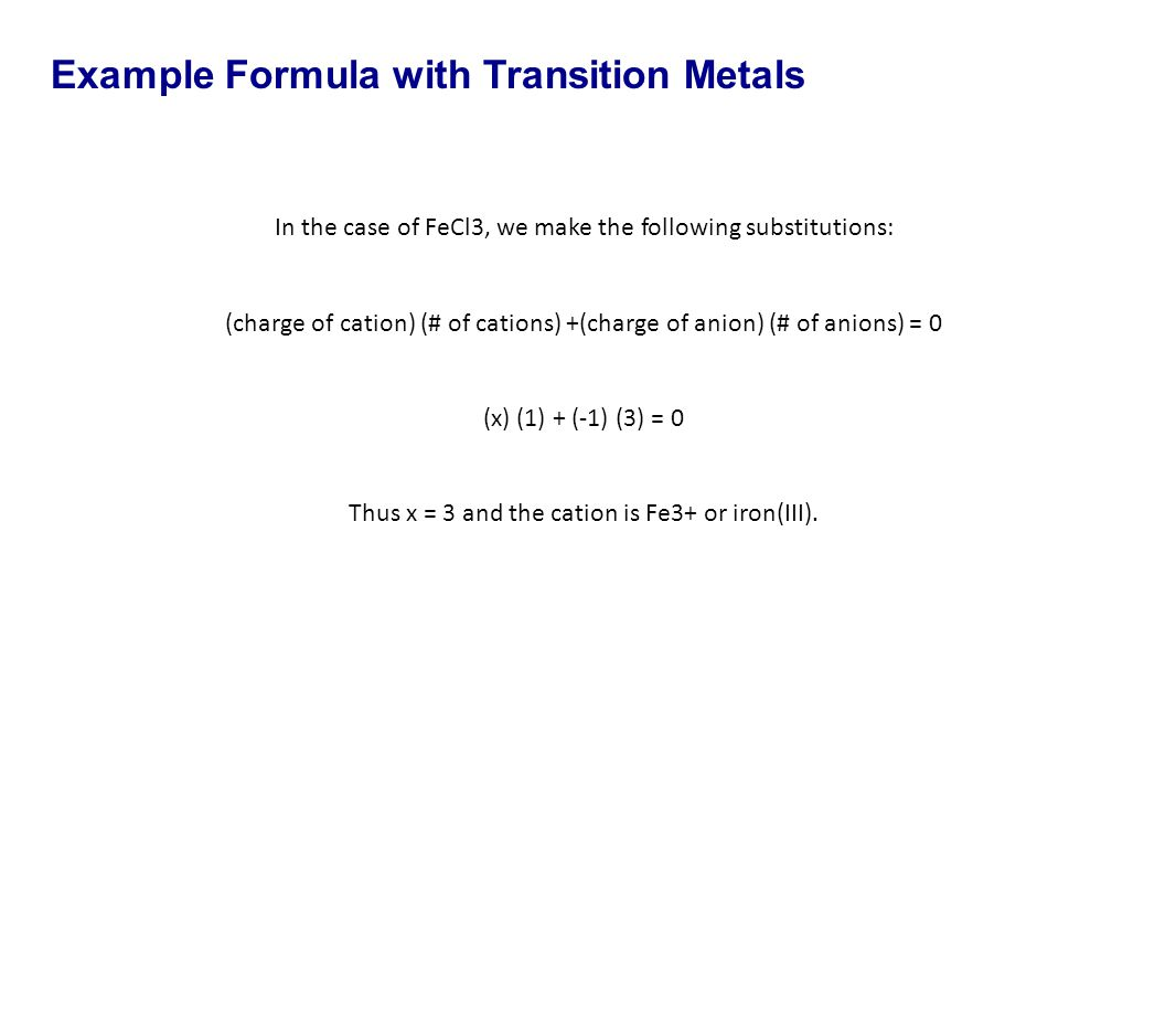 Example Formula with Transition Metals