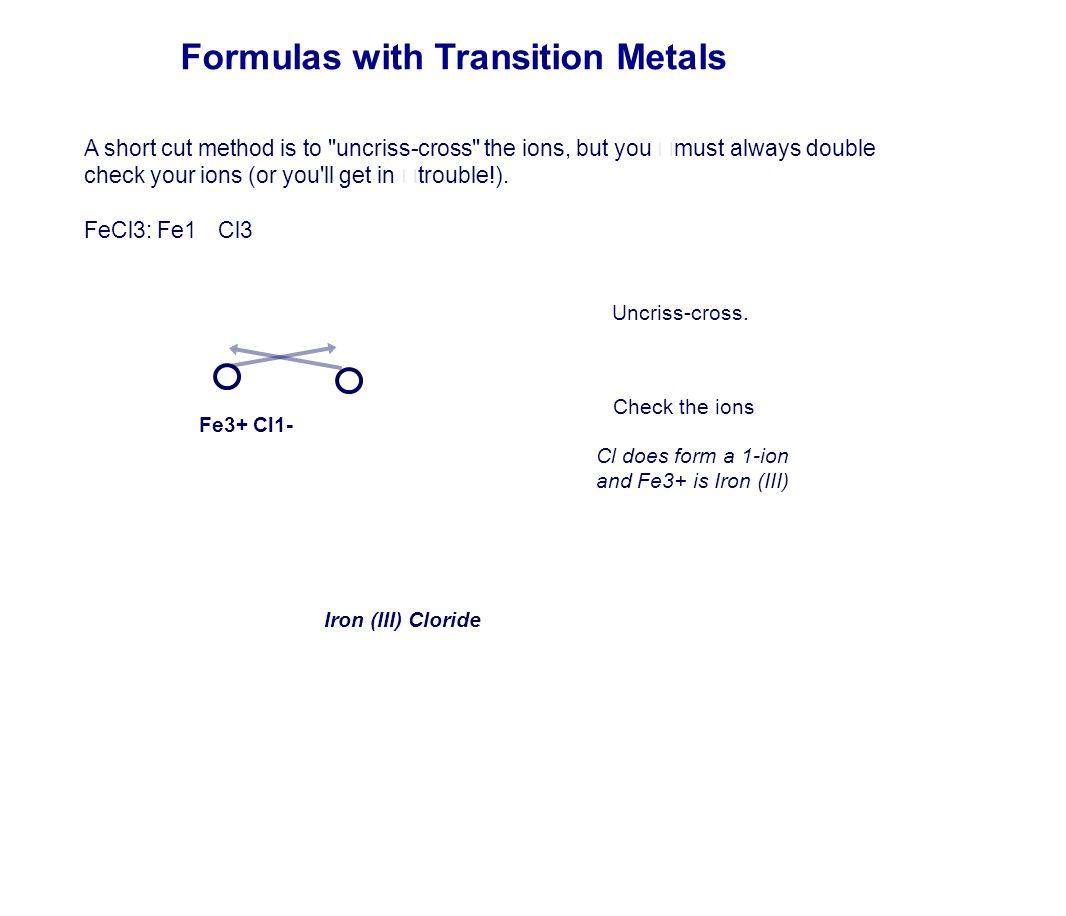 Formulas with Transition Metals