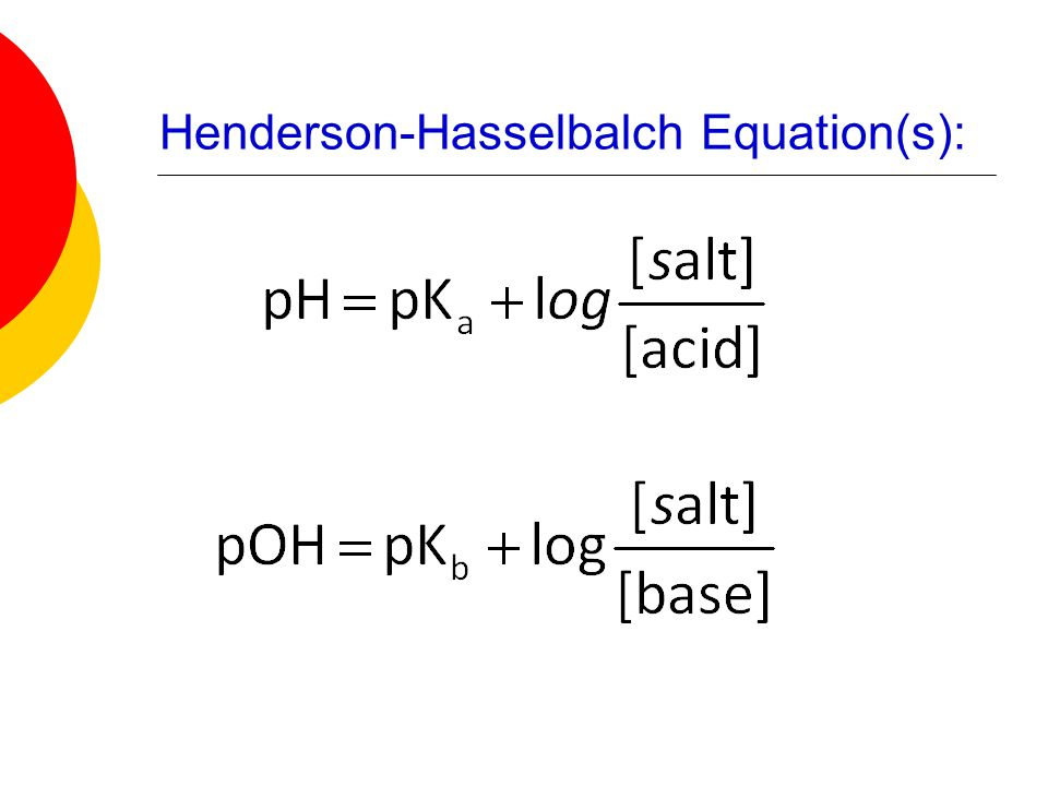Henderson-Hasselbalch Equation(s):