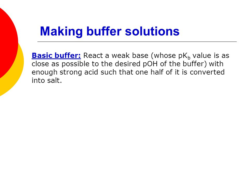 Making buffer solutions