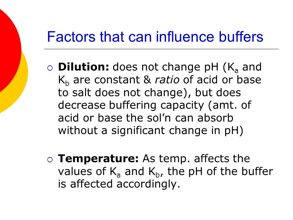 Factors that can influence buffers