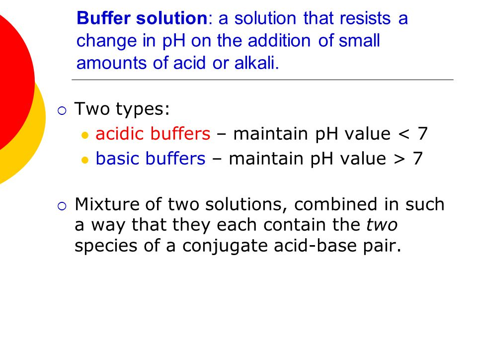 Buffer solution: a solution that resists a change in pH on the addition of small amounts of acid or alkali.