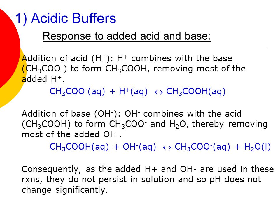 1) Acidic Buffers Response to added acid and base: