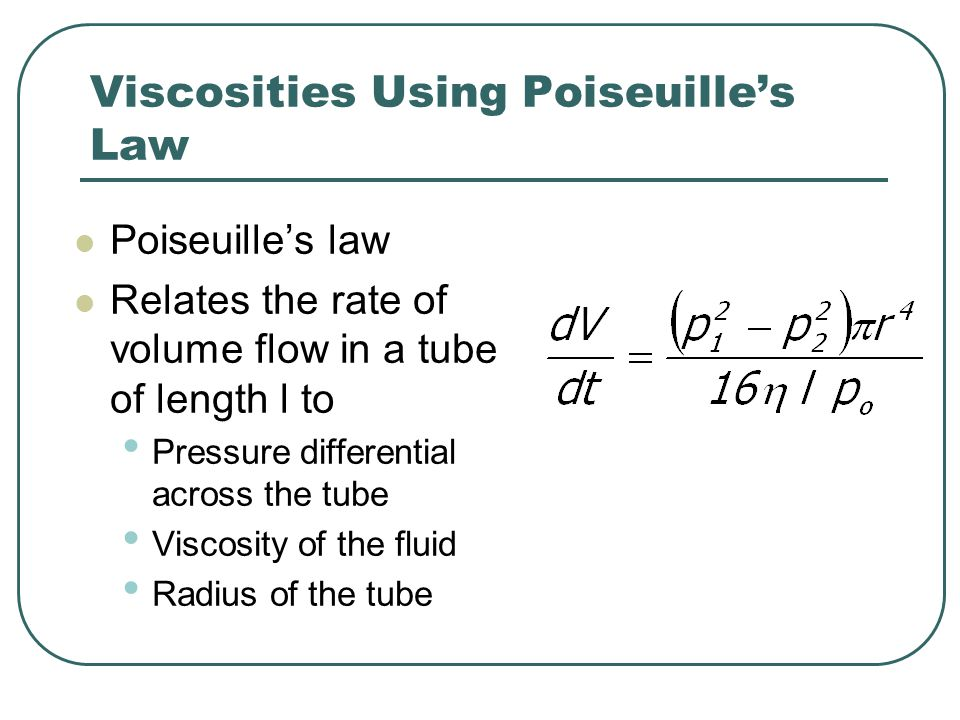 Viscosities Using Poiseuille's Law